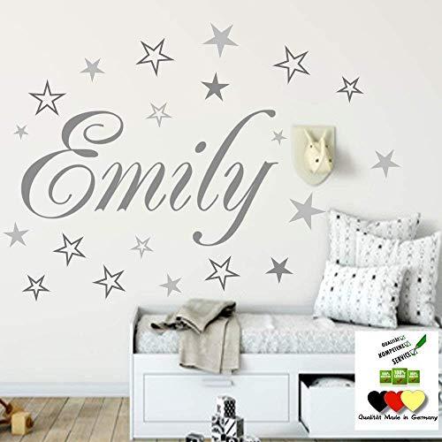 Wandschnörkel® Wandtattoo Namen HM~AA120 Kindernamen +20 teiliges Sterne Set Kinderzimmer Türschild Baby...