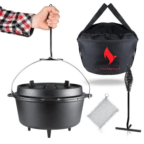 Eingebranntes Dutch Oven Set [14 Liter] - für gesellige Grill Abenteuer - BBQ Feuertopf aus massivem...