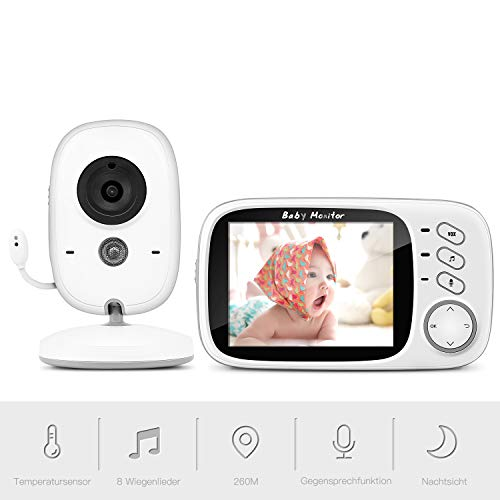 Babyphone mit Kamera, BOIFUN Smart Baby Monitor Video Überwachung mit 3.2' Digital LCD Bildschirm Wireless,...