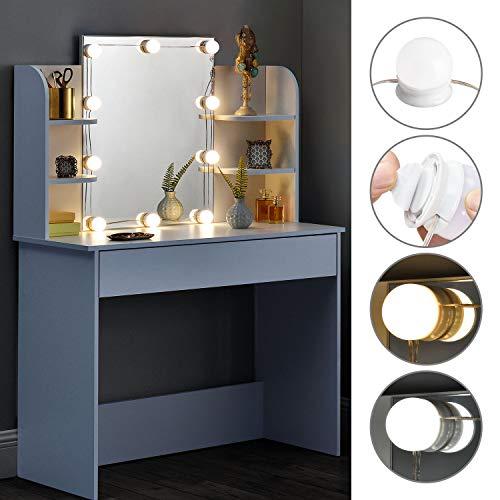 ArtLife Schminktisch Bella mit LED-Beleuchtung, Spiegel, Schublade und Fächern | weiß | modern | MDF Holz |...