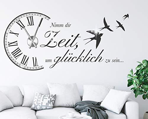 tjapalo® s-pkm473 Wanduhr Wandtattoo Uhr spruch Wohnzimmer Wandsticker Spruch - Nimm dir Zeit um Glücklich...