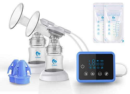 Milchpumpe, Elektrische Milchpumpe mit LED-Touchscreen, Massage & Speicherfunktion von 4 Modi und 9...