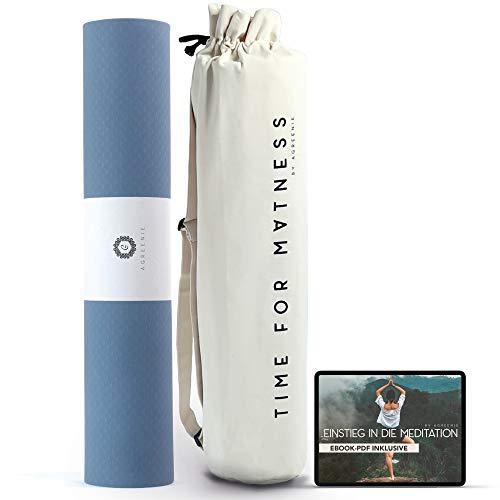 aGreenie Yogamatte Prana - rutschfeste Sportmatte aus Hochwertigem TPE - Extra Breit 183 x 68 cm - 6mm Dicke -...