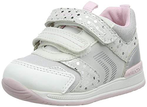 Geox Baby-Mädchen B RISHON Girl A First Walker Shoe, White/Silver, 22 EU