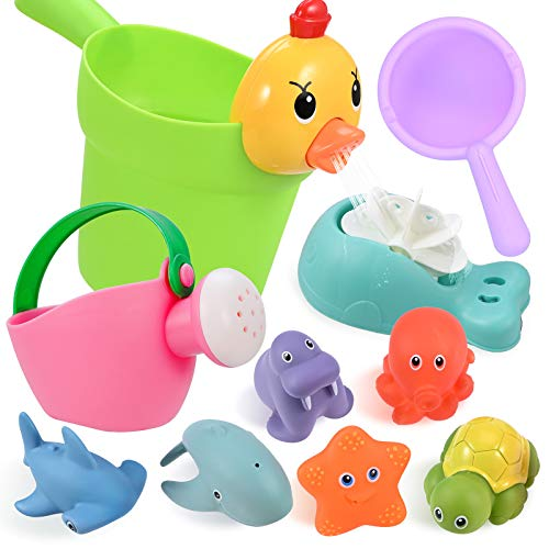 GOLDGE 10Pcs Badewannenspielzeug für Baby ab 1 Jahre, Badespielzeug Wasserspielzeug Baby mit BPA-frei Nettes...