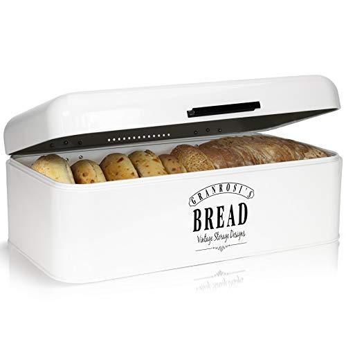 Granrosi Brotkasten im Retro Design - Geräumige Metall Brotbox hält Brot und Brötchen länger frisch und...