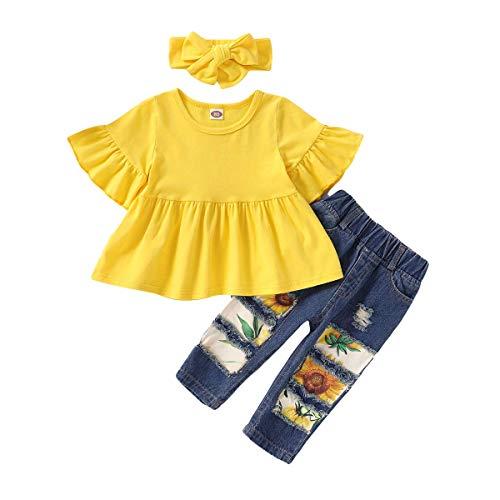 SANMIO Kleinkind Mädchen Kleidung Outfits, Mädchen Baby Blumen Jeans Hose Set Rüschen Langarm Kurzarm...