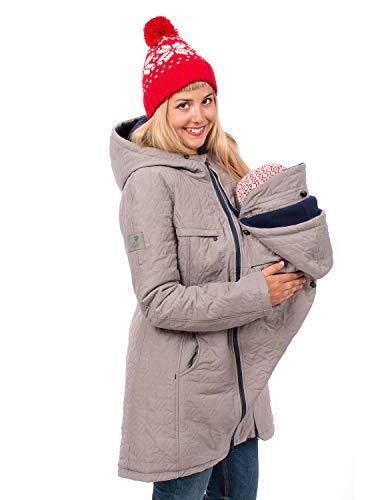 Viva la Mama Winterumstandsmantel Tragejacke lang warm Umstandsmode Jacke Damen Polaris hellgrau - L