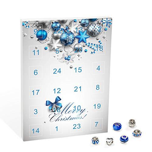 1 Halskette Mode-Schmuck Adventskalender mit Halbedelsteinen 23 Halbedelsteine