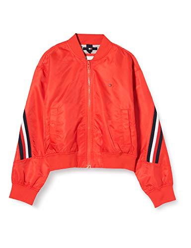 Tommy Hilfiger Mädchen Global Stripe Taped Bomber Jacke, Rot (Deep Crimson Xnl), 6-7 Jahre...