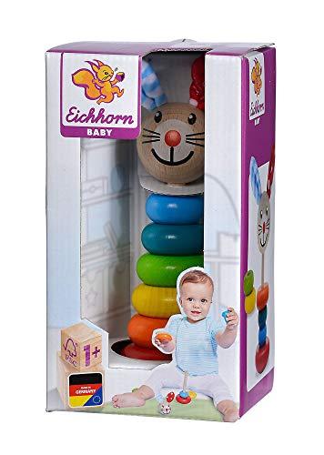 Eichhorn 100017019 - Baby Steckfigur mit Hasenmotiv, 6 Ringe mit Steckkopf, 18cm, FSC 100% Zertifiziertes...