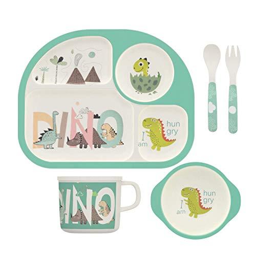 H HOMEWINS Kindergeschirr aus Bambus, 5-teilig Umweltfreundlich Geschirr Set - Teller, Schüssel, Tasse,...