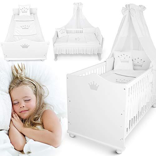 weißes Kinderbett – vom 70x140 cm Babybett zum Juniorbett umbaubar – mit Matratze, Bettwäsche, Himmel,...