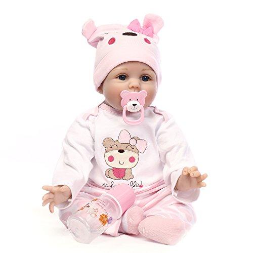 ConPush Lebensecht Reborn Babys Doll Puppen Silikon Mädchen WiederGeboren Reborn Babypuppen Rosa Bär Outfit...