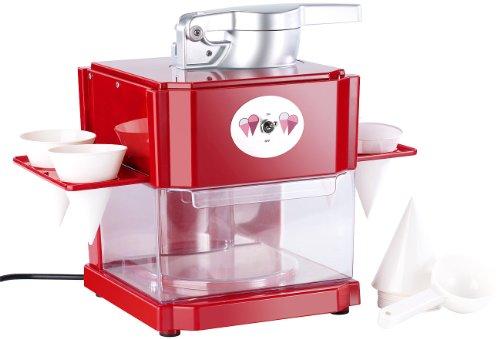Rosenstein & Söhne Shaved Ice Maschine: Shaved-Ice-Maker mit 4 Kunststoff-Eisbechern, 4 Servierhalter, 90...