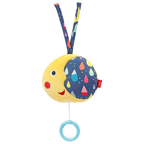 Fehn 055054 Spieluhr Mond COLOR Friends – Kuscheltier & Einschlafhilfe: Aufzieh-Spieluhr mit schöner...