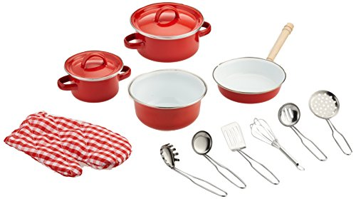 small foot 8964 Kochgeschirr aus Metall, für Kinderküchen, inkl. Topfhandschuh und Küchenhelfer, 13-tlg.,...