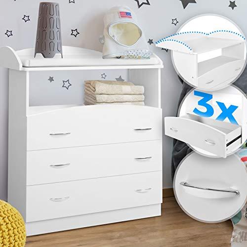 Infantastic® Wickelkommode - inkl. 3 großen Schubladen und Fach, LxBxH 85x71x96 cm, Weiß - Wickelschrank,...
