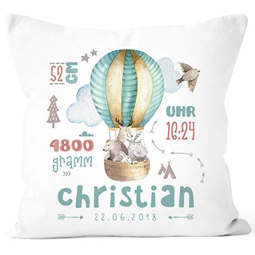 SpecialMe® personalisierbares Kissen zur Geburt Heißluftballon, Geburtskissen Jungen Mädchen, Geschenk...