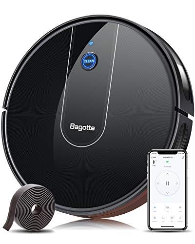 Bagotte BG700 Saugroboter WLAN (Slim), Starker 1600Pa Automatischer Staubsauger Roboter mit App & Alexa...