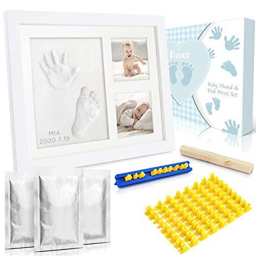 Dusor Baby Handabdruck und Fußabdruck Set, Gipsabdruck Baby Hand und Fuß mit Buchstaben Set und...
