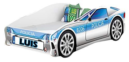 ACMA Kinderbett Auto-Bett Polizei mit Rausfallschutz Lattenrost und Matratze Polizei 1, 140x70 cm