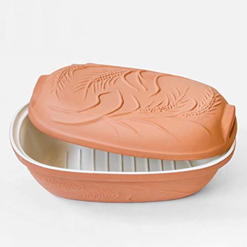 MS Steinzeug Brottopf Terrakotta TerraStone mit weißer Innenglasur Brot backen Rezepte