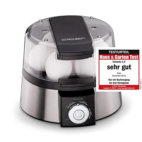 Cloer 6070 Elektronischer Eierkocher / für bis zu 7 Eier /  Weiterkochfunktion / akustische Fertigmeldung / 3...