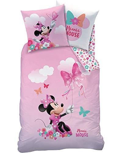 CTI Kinder-Wendebettwäsche Minnie Mouse Renforcé rosa Größe 135x200 cm (80x80 cm)