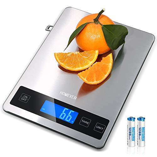 HOMEVER Küchenwaage, 15kg Küchenwaage Digital mit 6,3 * 0,79 Zoll Großem Panel, Edelstahl Digitale...