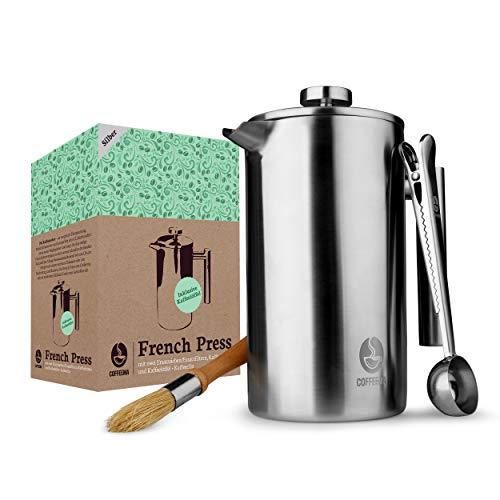 Coffeema® Premium French Press 1 Liter – Hochwertiger Kaffeebereiter – Inklusive Zubehör – Moderne...