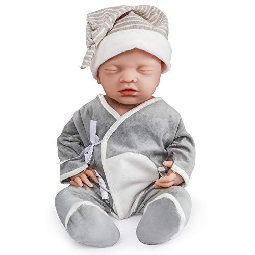 Vollence 46 cm Realistische Schlafende Reborn Babypuppe, PVC-Frei, Augen Geschlossen, Echte...