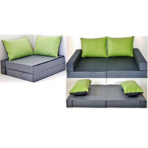 KK A1 grau-grün Kindersofa Kindermatratze Sitzkissen Spielsofa Minicouch Set + 2 Kissen (KKA1 (grau-grün))