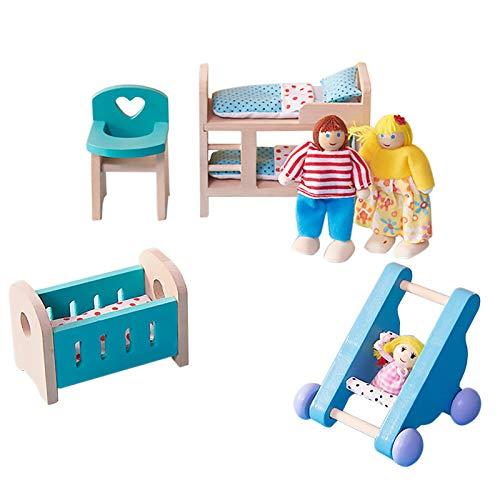 NXACETN Holz Puppenhausmöbel Set Babyzimmer Miniaturmodelle DIY zusammengebautes Spielzeug mit Stuhlbett...