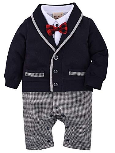 ZOEREA 1 tlg baby Strampler Smoking für Jungen Kleidung Body Kleidung Gentleman (Schwarz 011, Etikette...