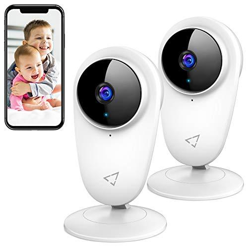 Victure 2 Stück WiFi Kamera, 1080P Überwachungskamera WLAN, 2.4 GHz Innenkamera mit Bewegungsmelder und...