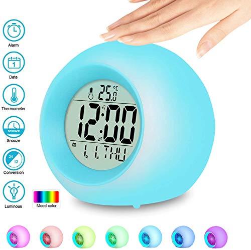 LED Kinderwecker, Kinder Wecker, 7 Farben Ändern LED Lichtwecker, 8 Wecker Klingeltöne 12/24 Stunden...