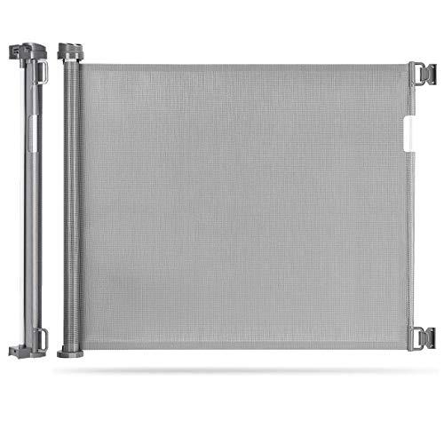 Einziehbares Babygitter, extra breites Türschutzgitter Roll 0-180cm, Einhandbedienung, Absperrgitter für...