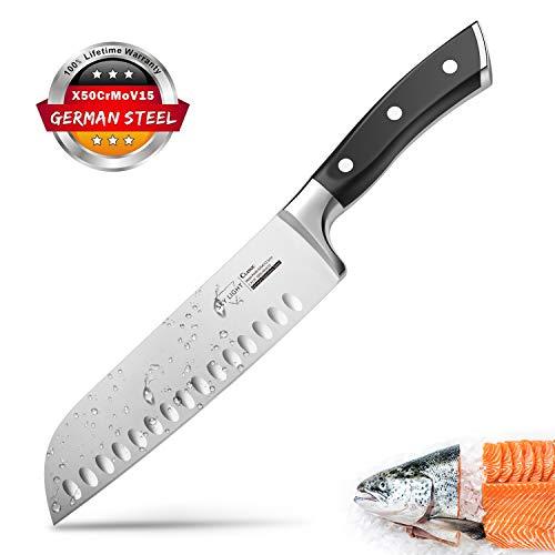 SKY LIGHT Kochmesser Japanisch Santoku Messer Küchenmesser mit Kullenschliff, extrem Scharf Rostfrei Deutsch...