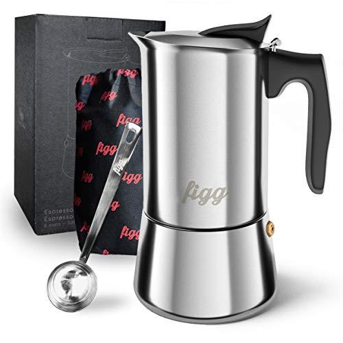 figg Espressokocher Induktion geeignet - Espressokanne 4 - 6 Tassen - 200 - 300 ml Mokkakanne mit...