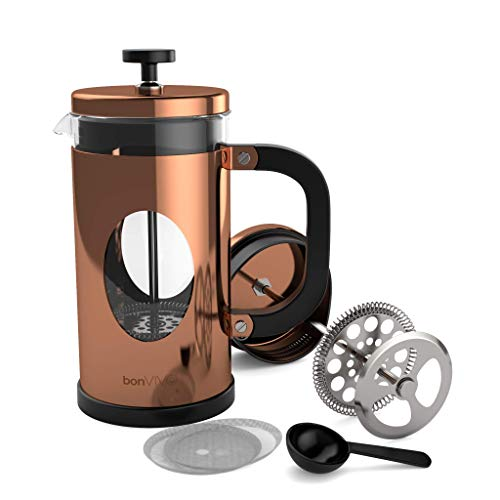bonVIVO GAZETARO I Design-Kaffeebereiter Und French Press In Kupfer-Optik, Kaffee-Kanne Aus Glas Mit...