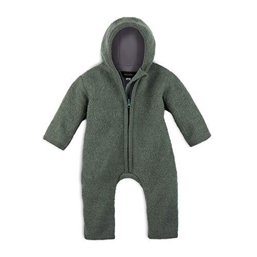 Halfen Walkanzug Baby aus Bio Natur Schurwolle, Farbe: Olive, Grösse 86 92, Baby Overall Wolle, Baby Wollwalk...