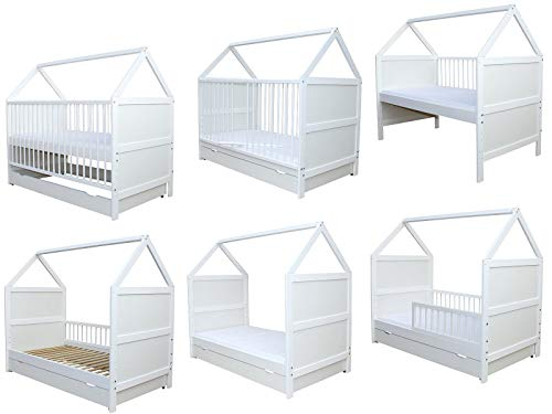 Babybett Kinderbett Bett Haus 140x70 cm mit Matratze Schublade weiss 0 bis 6 Jahre