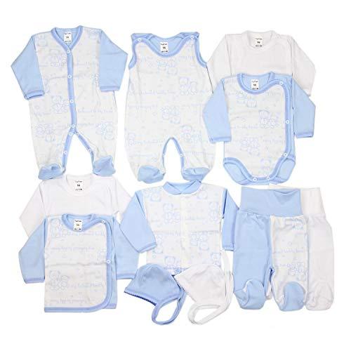 TupTam Unisex Baby Erstausstattung Bekleidungsset 11 teilig, Farbe: Blau/Weiß, Größe: 62