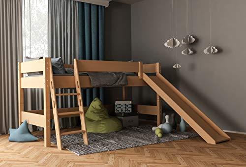 furnneo Kinderbett, Hochbett, inkl. Rutsche, Spielbett Absturzsicherung & Leiter, Liegefläche 90 x 200 cm,...