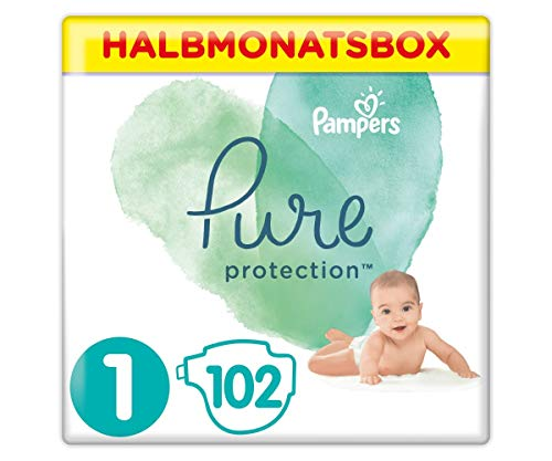 Pampers Pure Protection Windeln, Größe 1, 2-5 kg, Halbmonatsbox (1 x 102 Windeln), Mit Premium-Baumwolle Und...