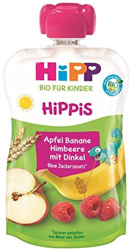 HiPP HiPPiS Früchte und Getreide Quetschbeutel, Apfel-Banane-Himbeere mit Vollkorn, 100% Bio-Früchte und...