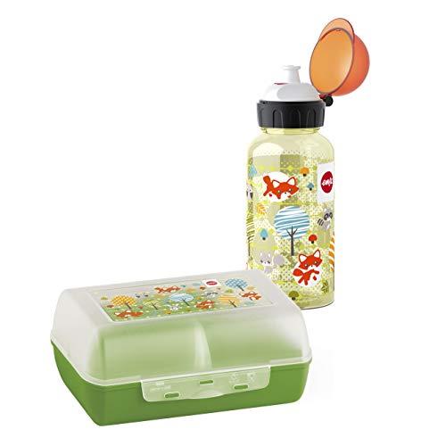 Emsa 518139 Kinder Set Trinkflasche + Brotdose; Motiv: Fuchs; BPA frei; Material: Trinkflasche aus Tritan...