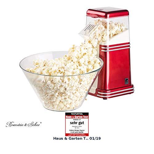 Rosenstein & Söhne Popkornmaschine: XL-Heißluft-Popcorn-Maschine für bis zu 100 g Mais, 1.200 Watt...