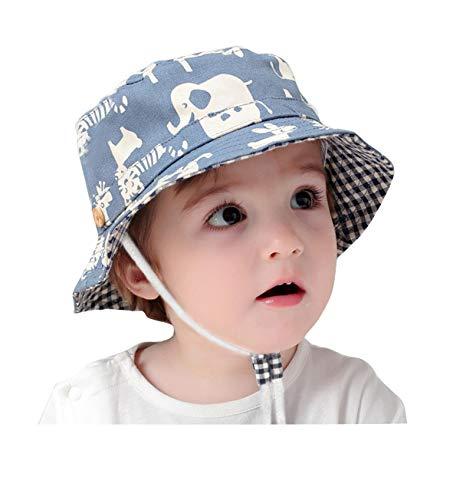 GEMVIE Fischerhut Baby Junge Mädchen Sonnenhut Kleinkind mit Tierdruckt für 0-6 Jahre Blau 48